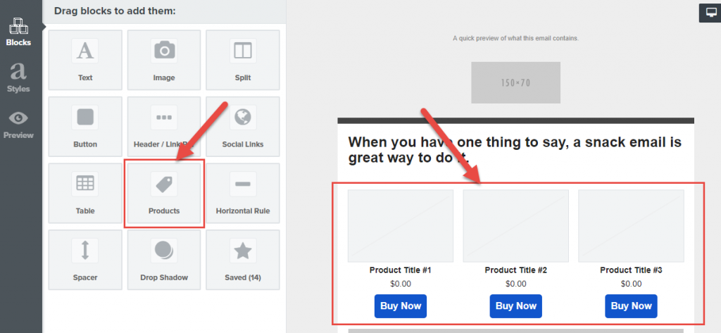 Dynamic product feed in Klaviyo's campaign builder