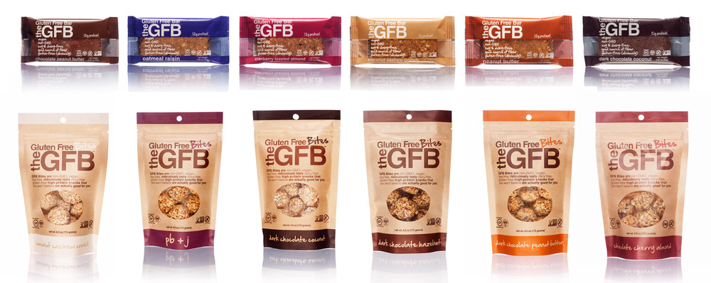 Several packages of The Gluten Free Bar snacks