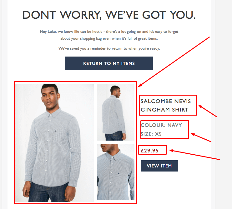 Example of an email for abandoned cart strategy.