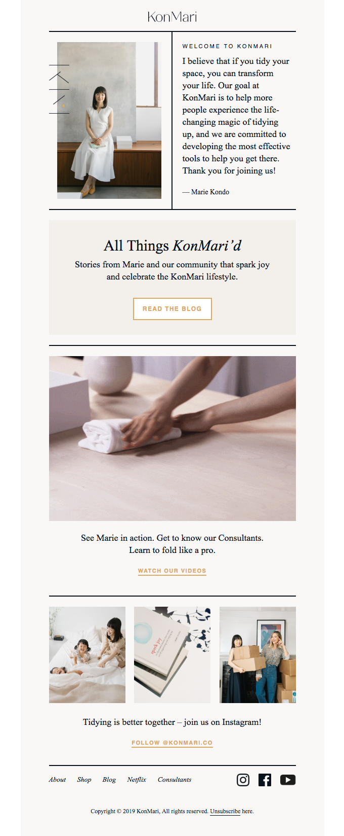 A great welcome series email example.