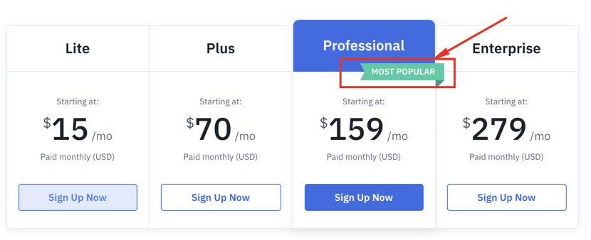 Activecampaign pricing tab.