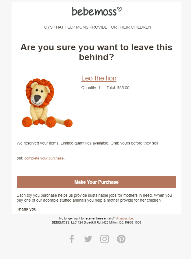 A cute abandoned cart email example
