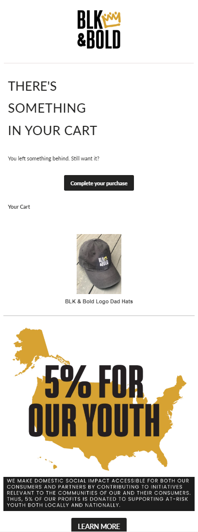 Abandoned cart email example from BLK & BOLD