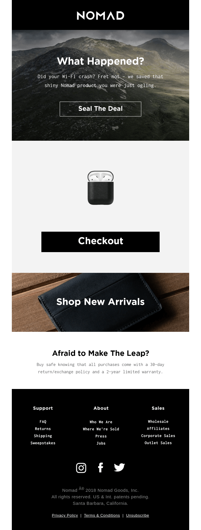 Abandoned cart emails are part of our ecommerce conversion hacks.