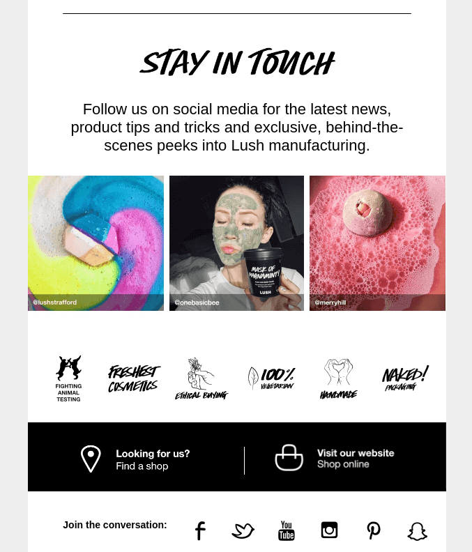 An example of welcome email for ecommerce.