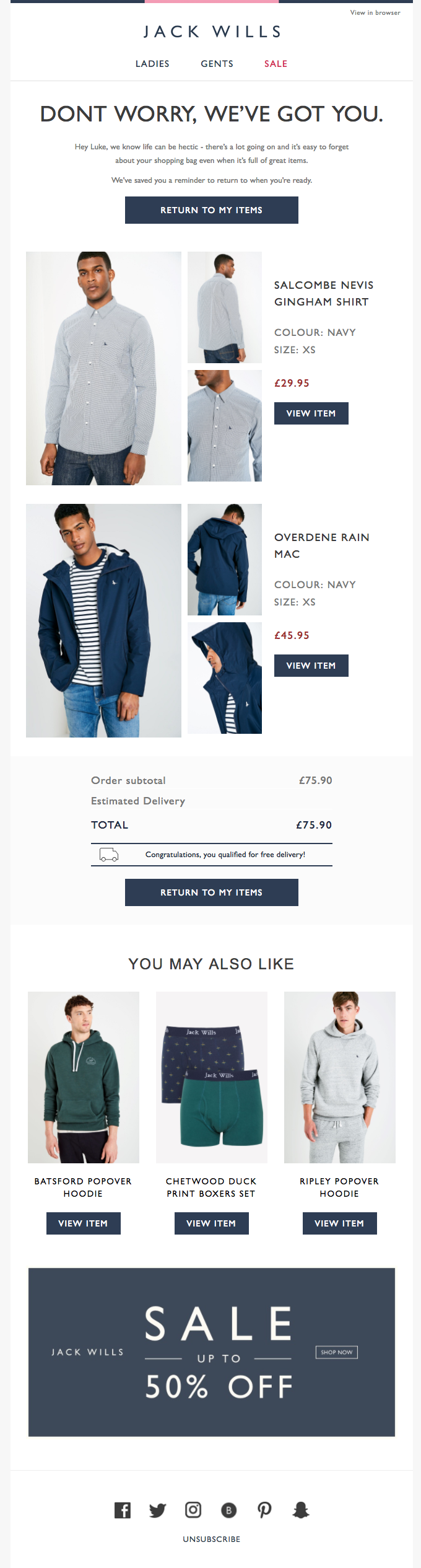 An example of a abandoned shopping cart email template.