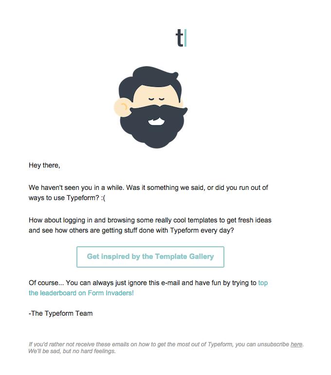 A great example of a customer win back email.