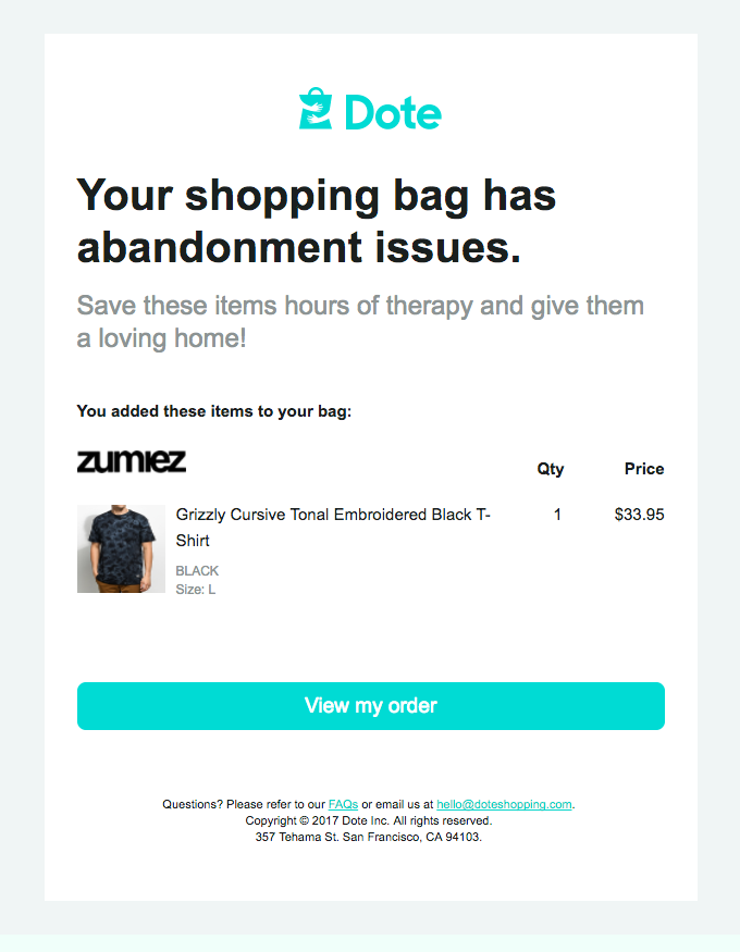 Example of an abandoned cart email instead of an ad copy.