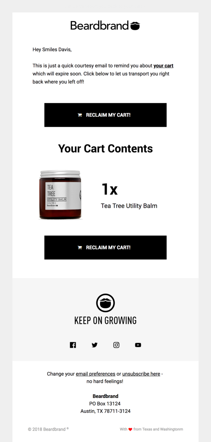 Example of an abandoned cart email as an ad copy.