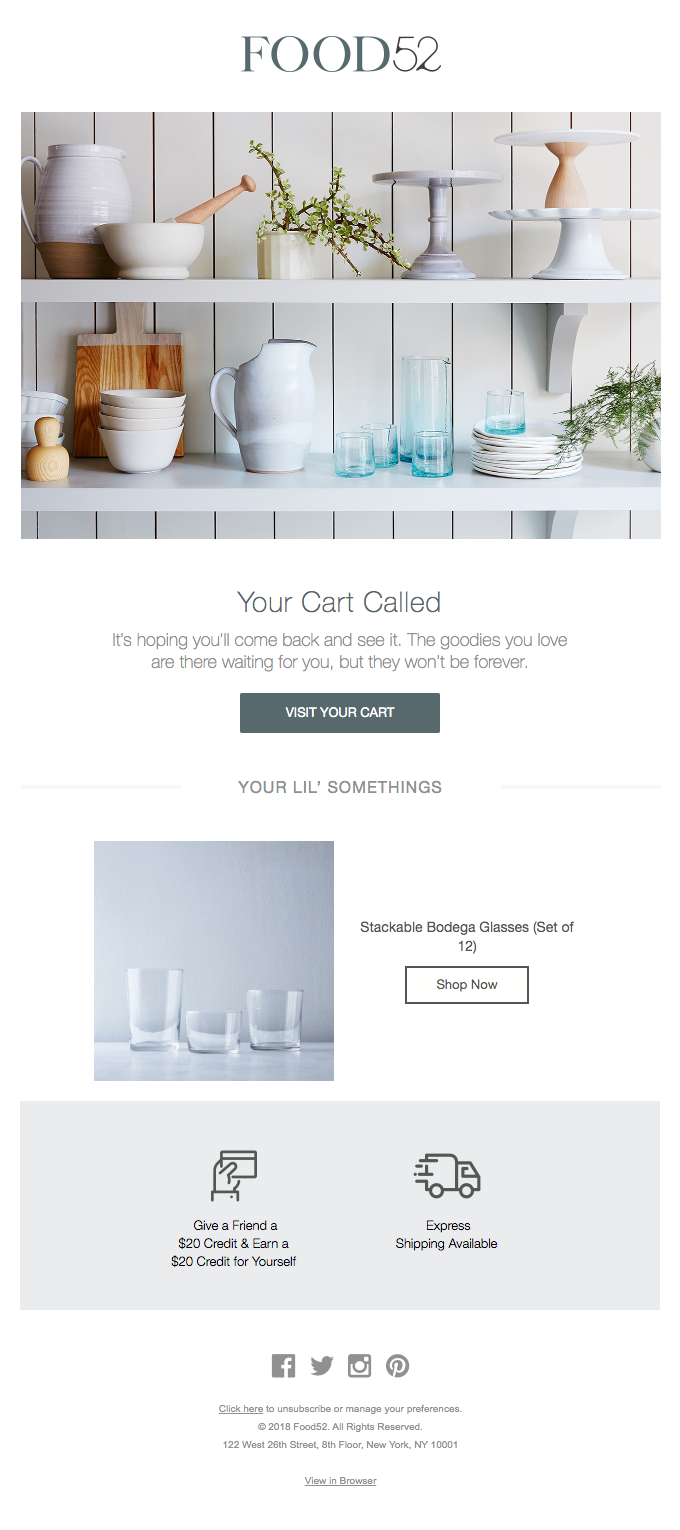 Recover your cart abandonment and checkout abandonment with good emails.