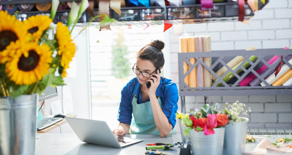 Woman setting up post purchase email automation.